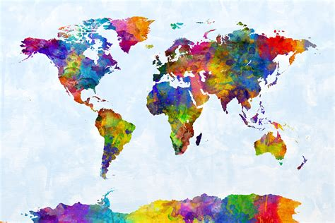 watercolour map   world art print  michael tompsett au