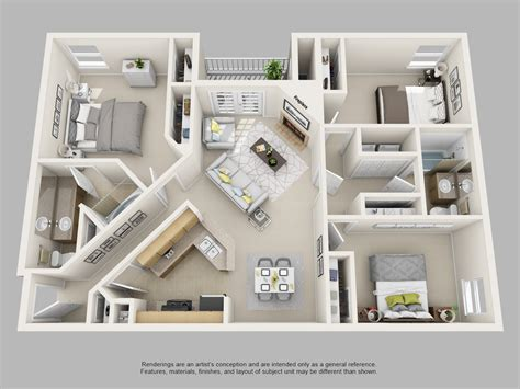 20 awesome 3d apartment plans with two bedrooms part 2 awesome 3d apartment floor plans photos liltigertoo com