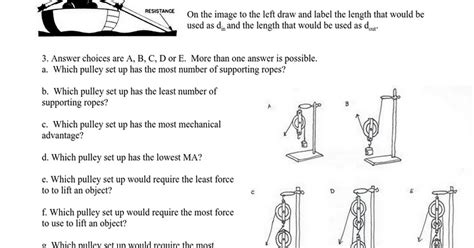 Mechanical Advantage Worksheet by Simple Machines Mechanical Advantage Worksheet