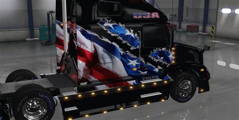 volvo vnl   aradeth american flag skin mod american truck simulator mod ats mod