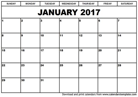 Printable Calendar January 2017 | january 2017 calendar template