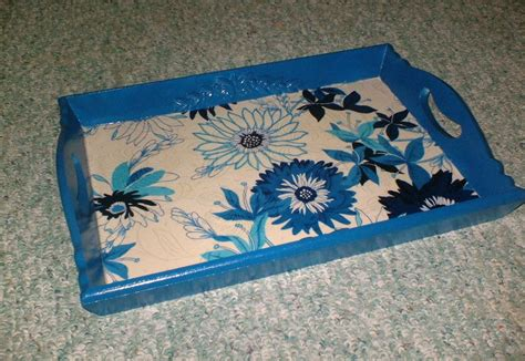Decoupage Fabric To Wood - wooden tray decoupage makeover thrifty rebel vintage