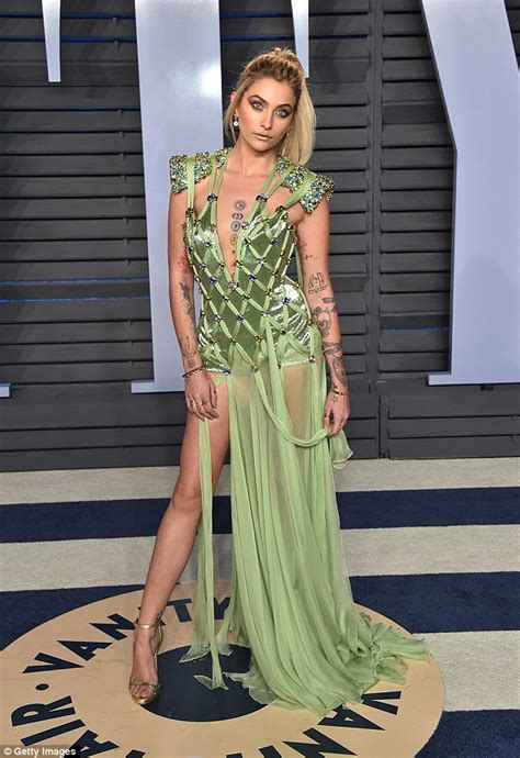 paris jackson style paris jackson dons plunging gown for oscars party daily