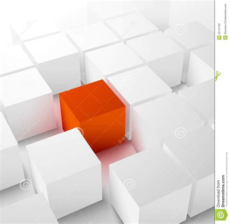 Plan3d abstract 3d cubic background with red cube royalty free