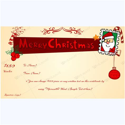 santa gift certificate template printable gift voucher template word layouts