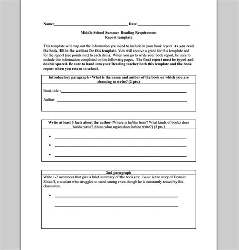 school book report template sle templates
