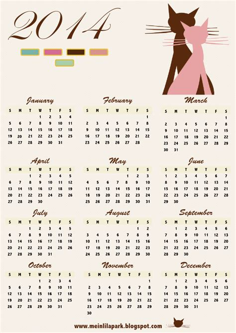 printable kitten calendar free printable 2014 calendar with cat art ausdruckbarer