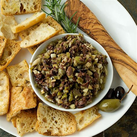 lemon garlic infused olive tapenade with rosemary baguette