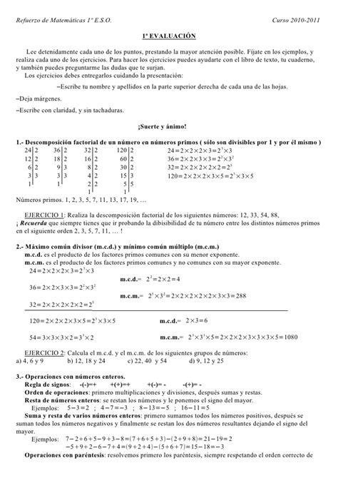 matemticas 2 eso 8467586788 plan de recuperaci 243 n 1 186 e s o matem 225 ticas