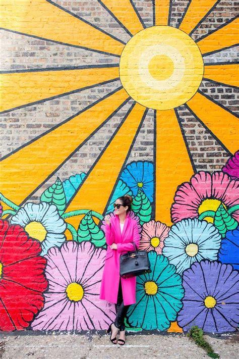 chicago flower sun mural flower mural mural wall art