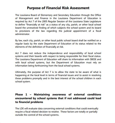 financial assessment template sle security risk assessment 6 exle format