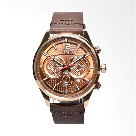 jual bonia jam tangan pria cokelat bnb 10393 1542c