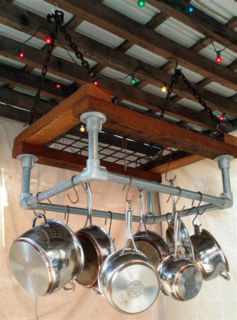 Pipe Pot Rack by Kitchen Pot Rack Reclaimed Wood Industrial Galvanized Pipe