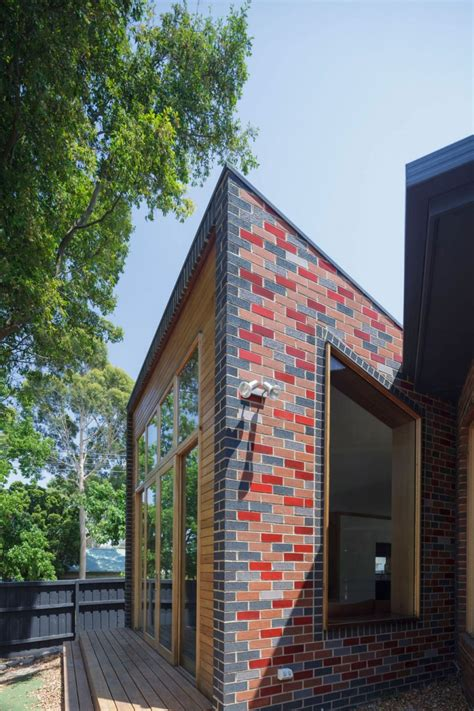 attractive contemporary house  colorful brick wall