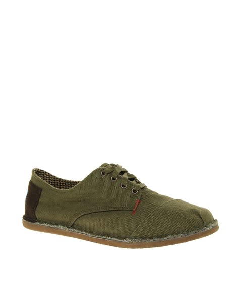 oxford like shoes toms desert oxford canvas shoes in green for lyst