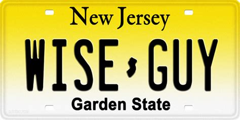new jersey wise license plate license tag novelty