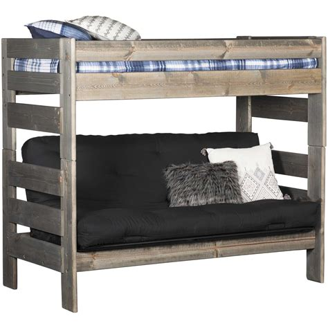 twin bed over futon cheyenne driftwood twin over twin futon bunk bed dw 4705