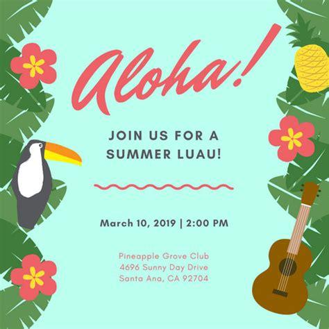 Customize 102 Luau Invitation Templates Online Canva Free Hawaiian Luau Flyer Template