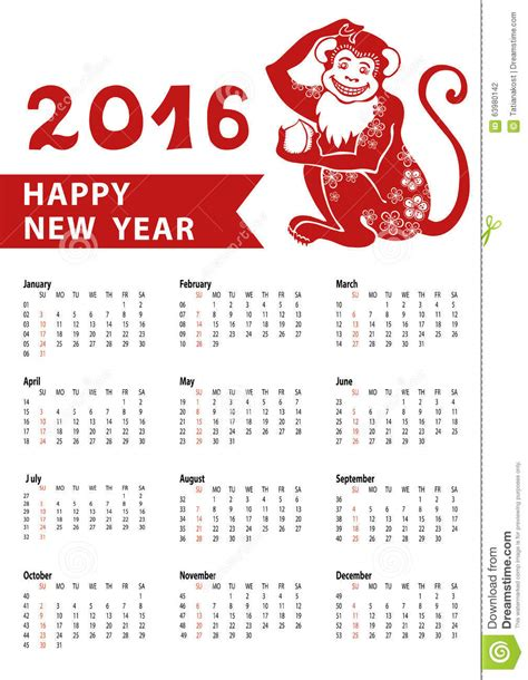 new year 2016 horoscope calendar 2016 zodiac monkey vector illustration
