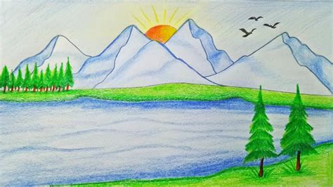 easy mountain landscape drawing drawing art ideas