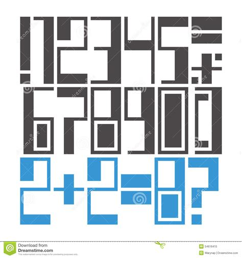 geometric pattern numbers easily modifiable geometric font numbers and marks stock