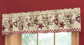 Country Window Valances Country Heart Amp Star Window Valance Inhand Kitchen Berry