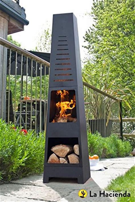 la hacienda skyline black steel garden chiminea  laser cut design  gardenless uk shop