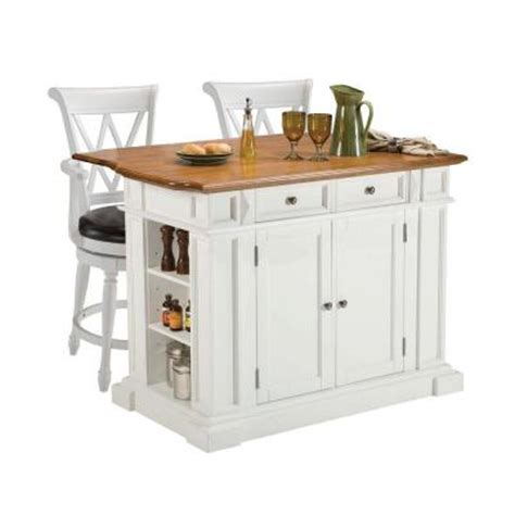 home styles traditions distressed oak drop leaf kitchen island in white with seating