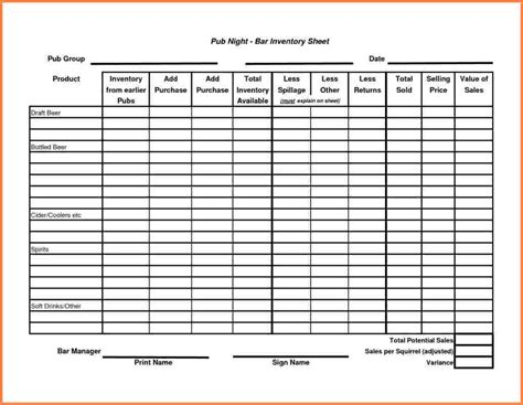 10 Sle Bar Inventory Spreadsheet Excel Spreadsheets Group Restaurant Inventory Sheet Template
