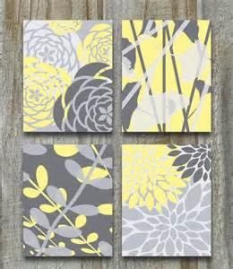 Home Decor Prints by Yellow Gray Art Print Set Modern Vintage Floral Nature