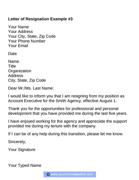 example of letter resignation examples facile snapshot sample