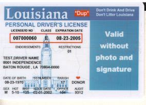 Louisiana Id Template id card issuers