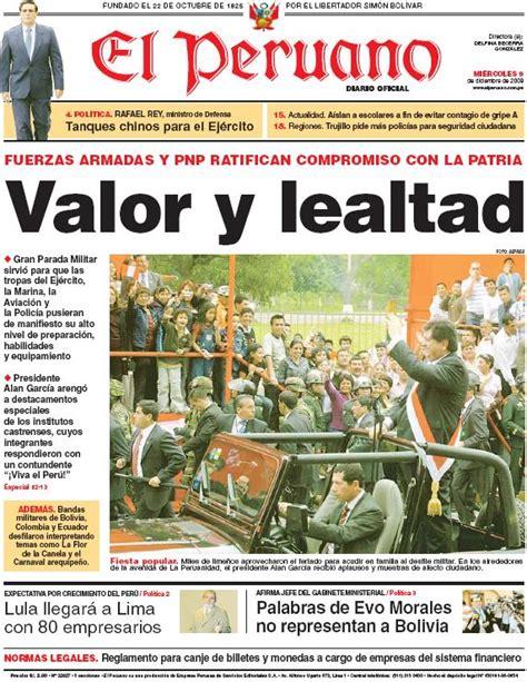 el trome diario peruano post diario oficial el peruano 09 12 2009