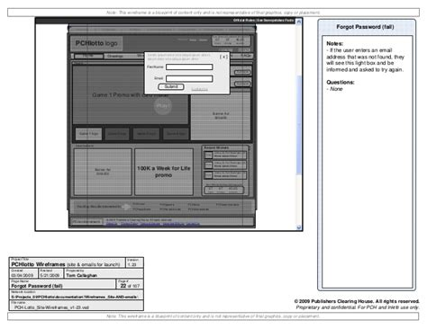 Pch Lotto Sign In - wireframes visio