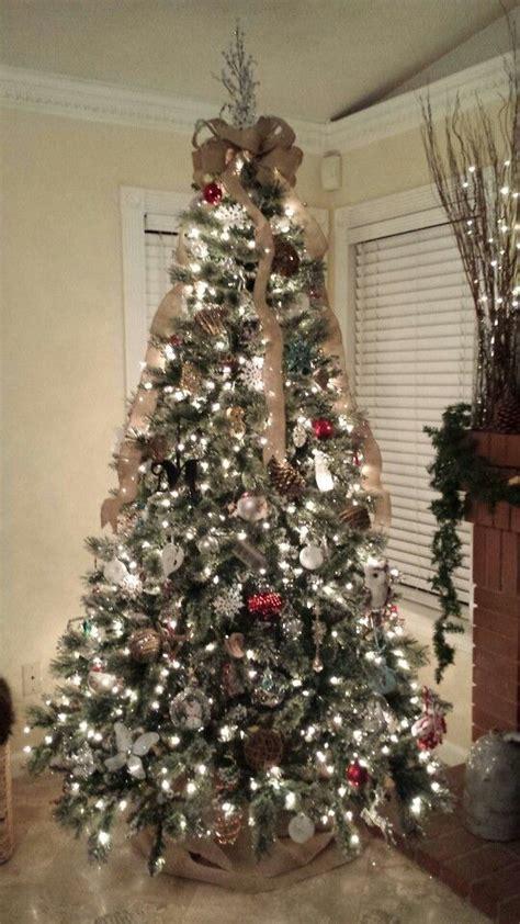 christmas tree with burlap bow holidays pinterest