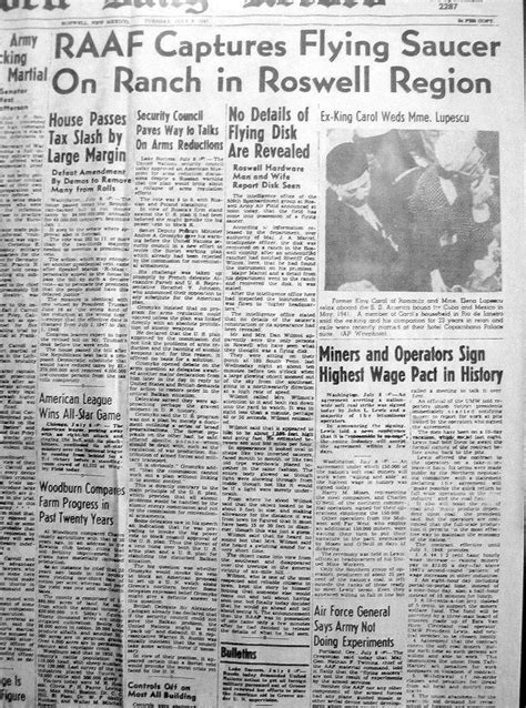 Roswell Nm Records Roswell New Mexico Newspaper Article