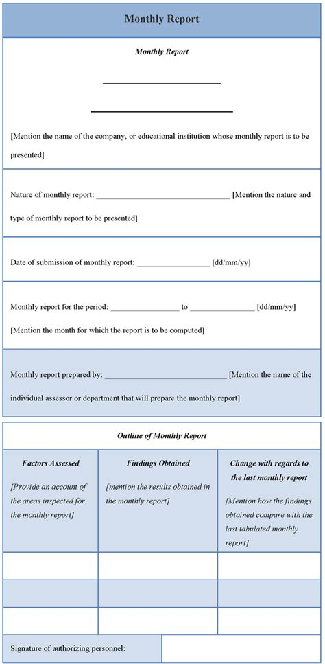 template for monthly report monthly report template format format of monthly report