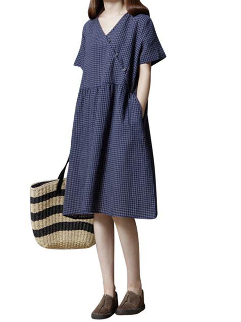 Sleeve V Neck Plaid Dress plaid v neck sleeve dresses alexnld