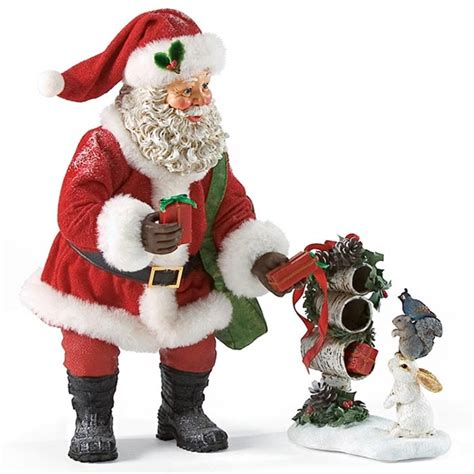 santa with woodland animals possible dreams figurine set