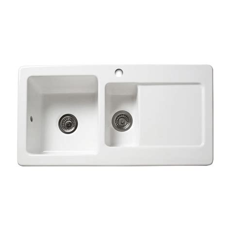 Ceramic Kitchen Sinks 1 5 Bowl Reginox Rl501cw 1 5 Bowl Ceramic Sink Sinks Taps