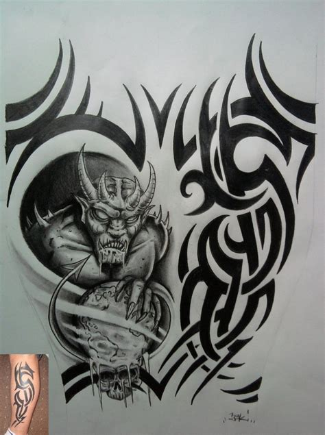 tribal devil tattoo designs pin half wings tribal tattoos designs