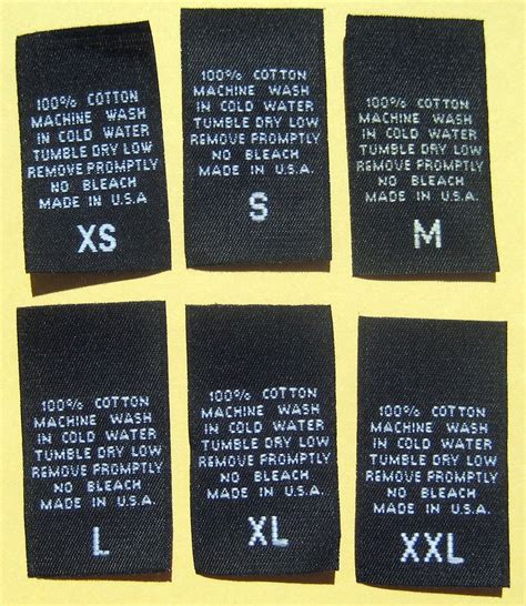 Aufkleber Kleidung by Woven Clothing Labels Adult Size Content Care