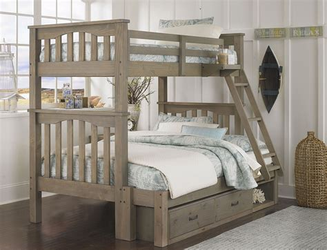 bunk beds twin over full with storage highlands harper driftwood twin over full storage bunk bed