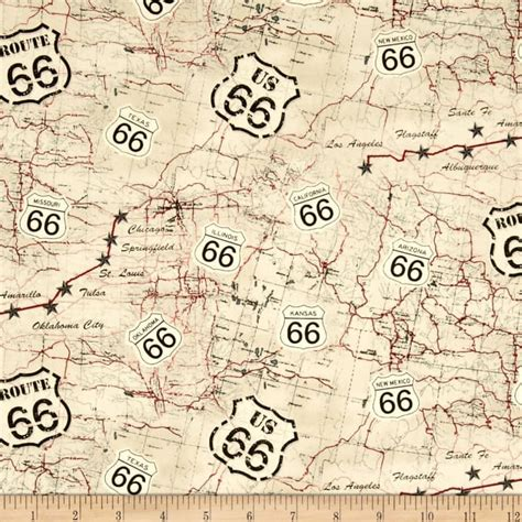 fabric pattern map timeless treasures route 66 map beige discount designer