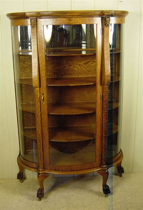 antique curved glass china cabinet value curved glass oak 1900 antique china or curio display