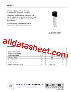 datasheet transistor fcs 9014 st9014 datasheet pdf semtech electronics ltd