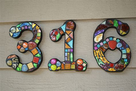 mosaic numbers pattern 7 quot tall custom mixed media mosaic house numbers