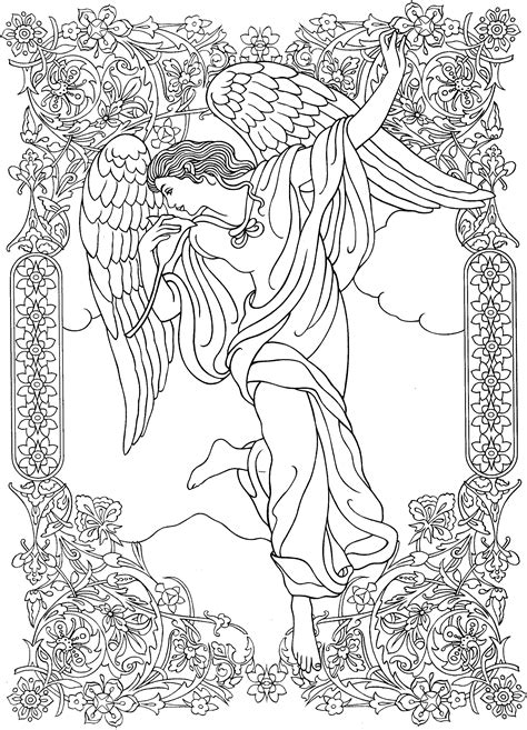 coloring pages of angels for adults beautiful angel coloring page zentangles adult