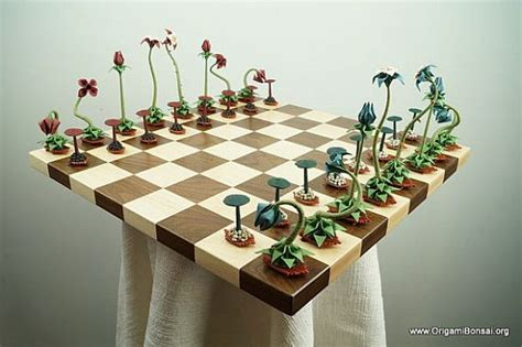 origami bonsai chess set features pieces crafted using