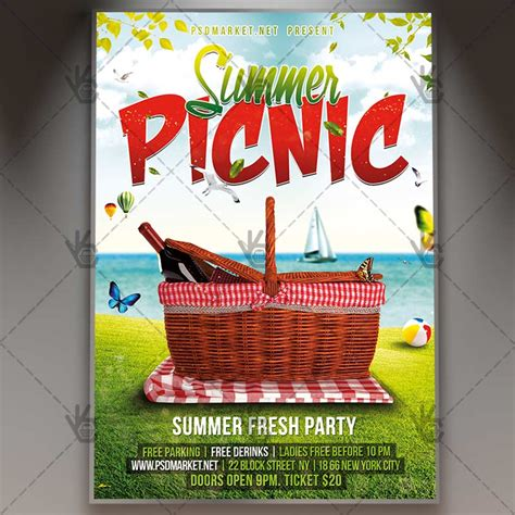 Summer Picnic Premium Flyer Psd Template Psdmarket Summer Picnic Flyer Template
